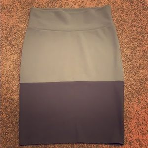 Two tone gray pencil skirt
